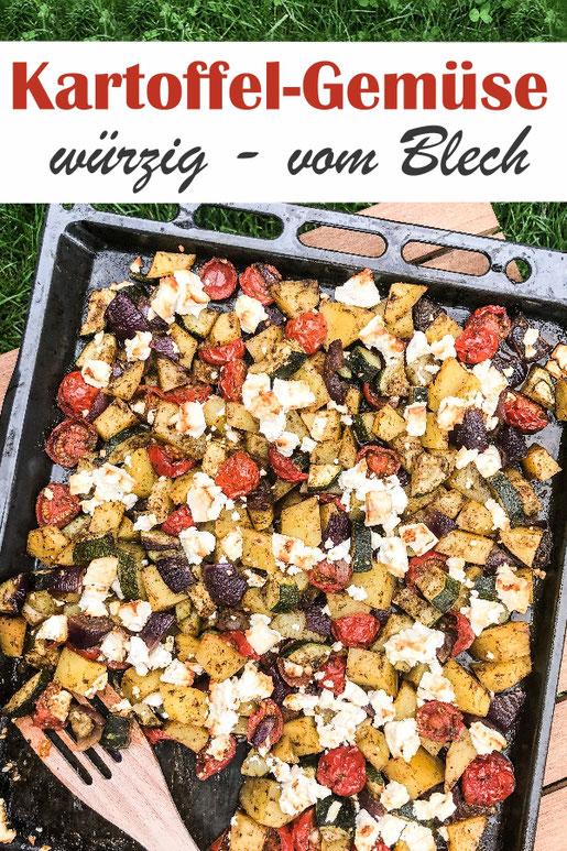 Einfach und schnell gemacht: Kartoffeln und Gemüse vom Blech, mit einer selbst gemachten Würzmischung / Würzmarinade, zum Grillen, als Beilage, als Hauptgericht, vegetarisch, Würzmischung aus dem Thermomix
