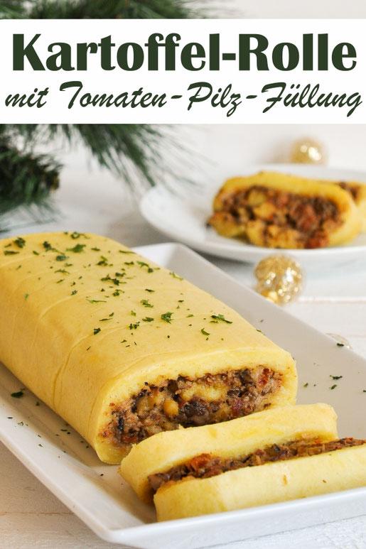 Kartoffelrolle mit Tomaten-Pilz-Füllung - statt Kartoffelklöße zum Weihnachtsmenü, vegetarische Weihnachten, vegan möglich, Thermomix