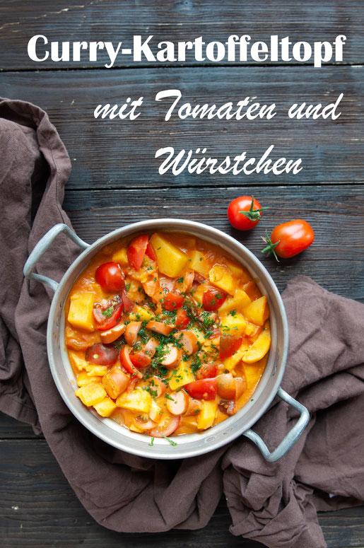 All in One Gericht für den Thermomix mit Kartoffeln Tomaten Curry Kokos und Würstchen, vegetarisch, vegan möglich