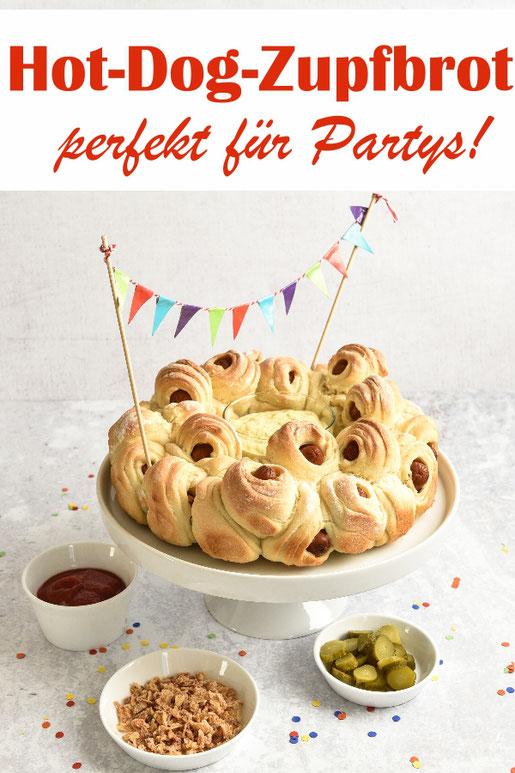 Perfektes herzhaftes Party-Food: Hot Dog Zupfbrot, für Geburtstag, Sommerfest, Buffet, Fasching etc., aus selbst gemachtem Pizzateig mit Mini-Würstchen, vegetarisch, vegan machbar, z.B. aus dem Thermomix, einfach zu machen