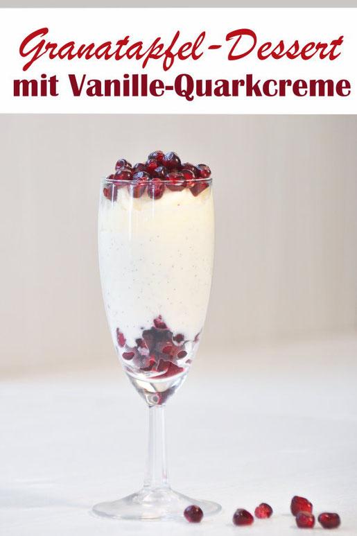 Dessert mit Granatapfelkernen, Sahne und Vanille-Quark-Creme, vegan möglich, Thermomix