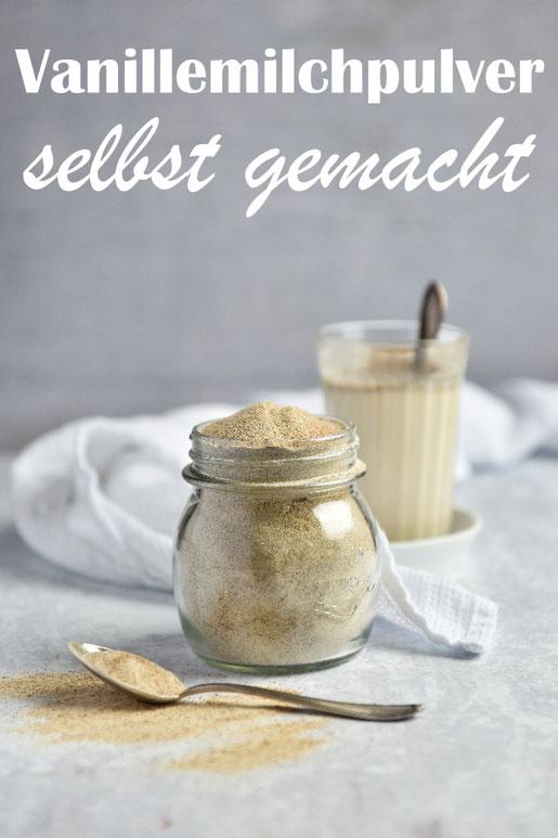 Vanillemilchpulver aus hochwertigen Zutaten selber gemacht, mit Kokosblütenzucker und gemahlener Bourbon-Vanille, zum Einrühren in Milch, Thermomix