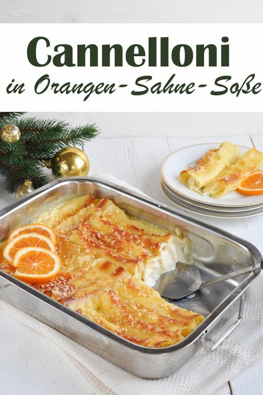 vegetarische Weihnachten mit diesem Pasta-Gericht als Zwischengang: Cannelloni in Orangen-Sahne-Soße, vegetarisch, vegan möglich, Thermomix