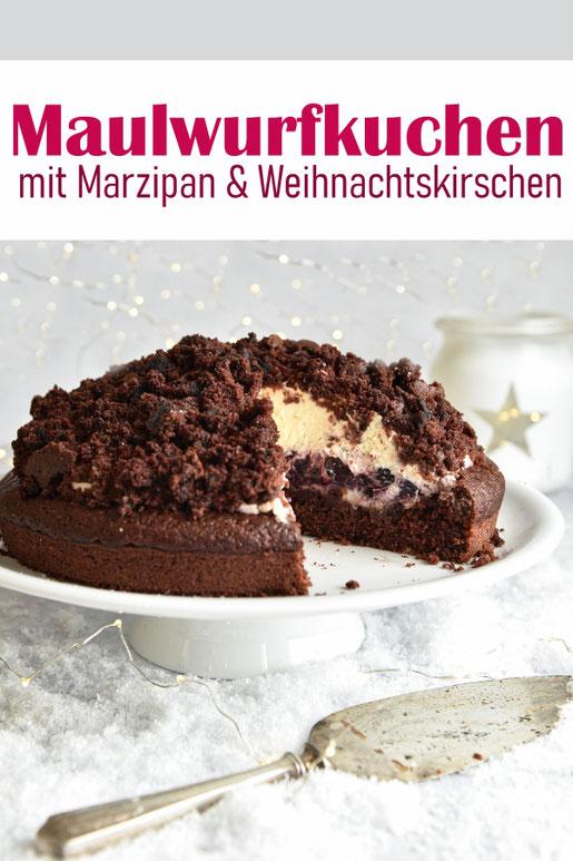Maulwurfkuchen mit Marzipancreme und weihnachtlichen Kirschen, Weihnachtskuchen, vegan möglich, Thermomix