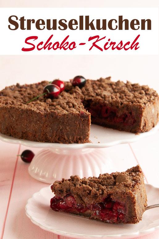 Streuselkuchen Schoko Kirsch, einfach und schnell für alle, die diese Kombi lieben, vegan möglich, aus dem Thermomix