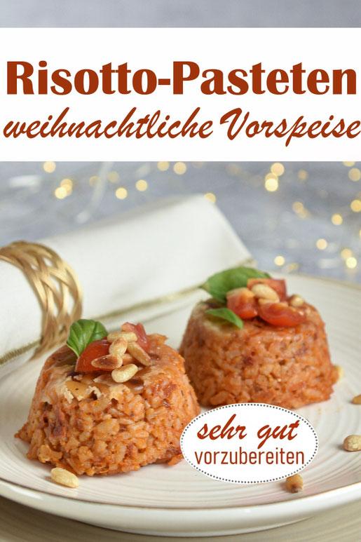 vegetarische Vorspeise zu Weihnachten: Risotto-Pasteten mit Tomaten und Pinienkernen, super vorzubereiten, Thermomix