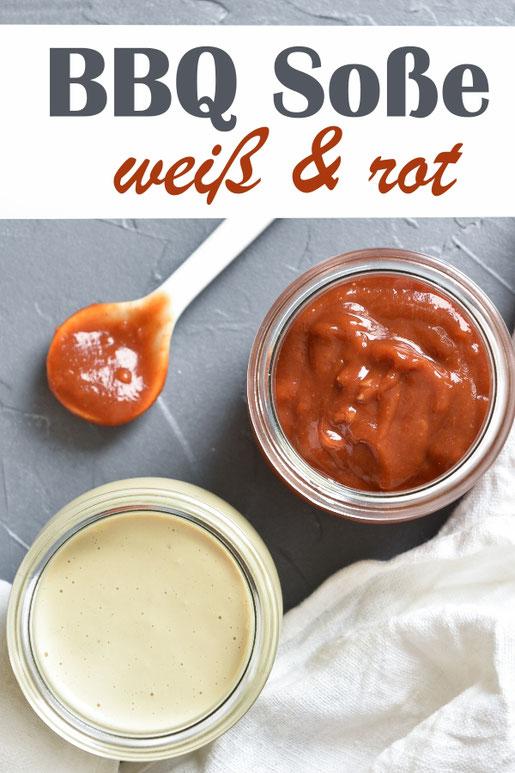Barbecue Soße BBQ Sauce, rot klassisch mit Ketchup als Basis oder in weiß mit Mayonnaise als Grundlage - vegan möglich, aus dem Thermomix