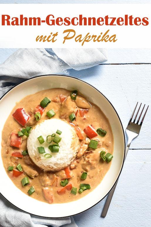 Rahm Geschnetzeltes mit Paprika zu Reis, vegetarisch oder vegan machbar, z.B. aus dem Thermomix, deftiges Mittagessen, Idee für Veggie Tag