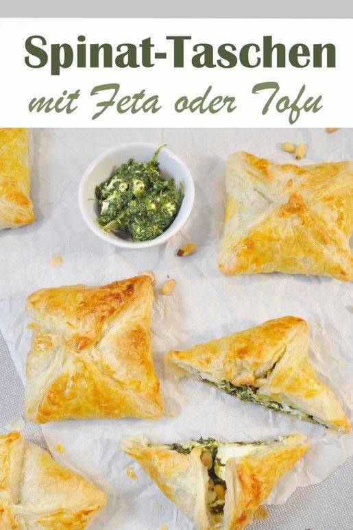 Spinat Feta Taschen oder wahlweise in vegan mit Tofu - ein Klassiker, super für jedes Buffet zum Geburtstag oder Schulfest, schmeckt warm und kalt, auch als Snack für unterwegs lecker, vegetarisch, Thermomix