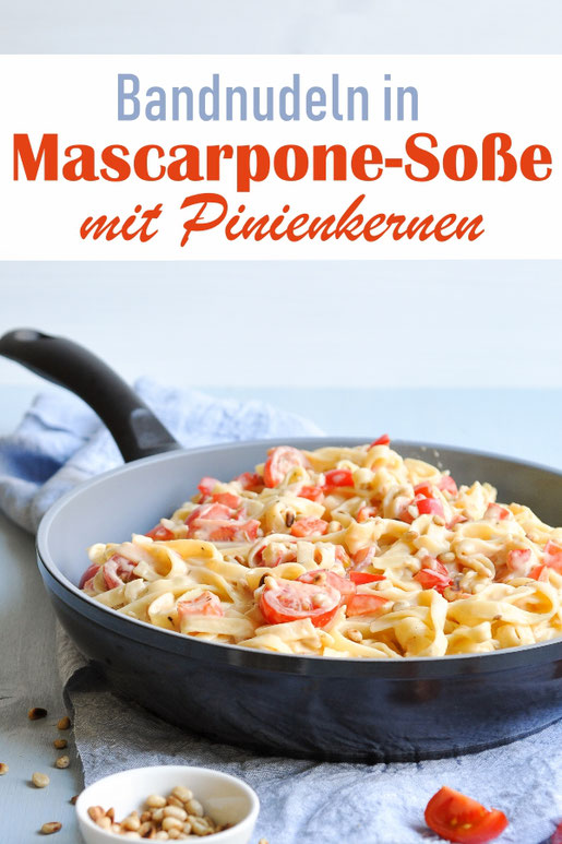 Bandnudeln in Mascarpone Soße mit Pinienkernen, Paprika und Tomaten, vegetarisch, vegan möglich, z.B. aus dem Thermomix