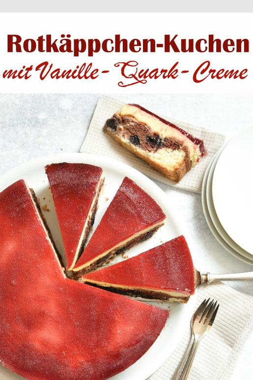 Rotkäppchen-Kuchen mit Vanille Quark Creme und Kirschen, vegan möglich, Thermomix