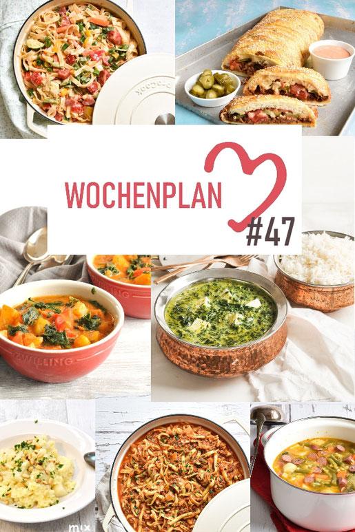 Was soll es die Woche bloß zu essen geben? Ich habe dir hier eine ganze Woche an leckeren Rezepten zusammengestellt - du kannst sie alle vegan oder vegetarisch kochen - der mix dich glücklich Wochenplan für den Thermomix - Nummer 47