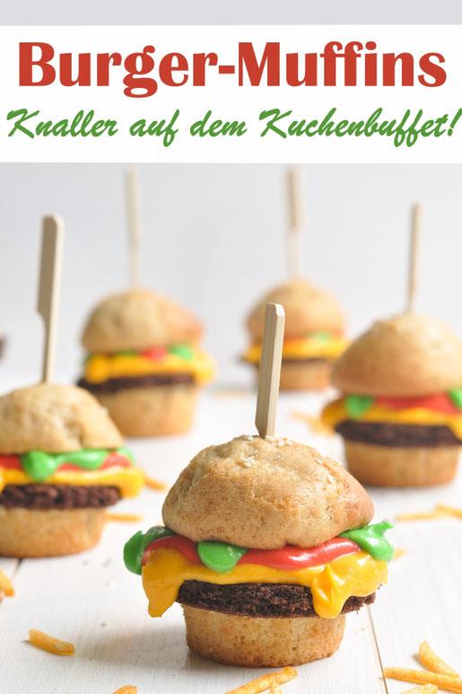 Muffins die aussehen wir Burger sind der Knaller auf jedem Kuchenbuffet - zum Geburtstag, zum Karneval, Fasching, für das Sommerfest, Schulfest, Kindergarten Buffet, mit genauer Anleitung, vegan möglich, Thermomix