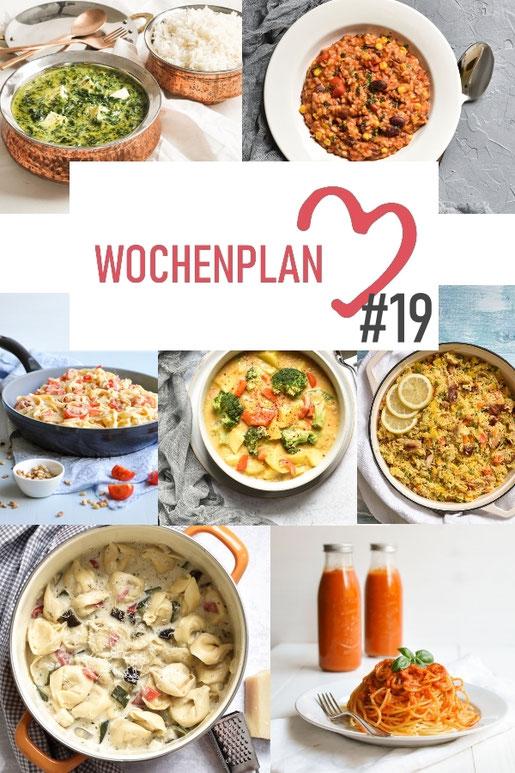 Was soll es die Woche bloß zu essen geben? Ich habe dir hier eine ganze Woche an leckeren Rezepten zusammengestellt - du kannst sie alle vegan oder vegetarisch kochen - der mix dich glücklich Wochenplan für den Thermomix - Nummer 19