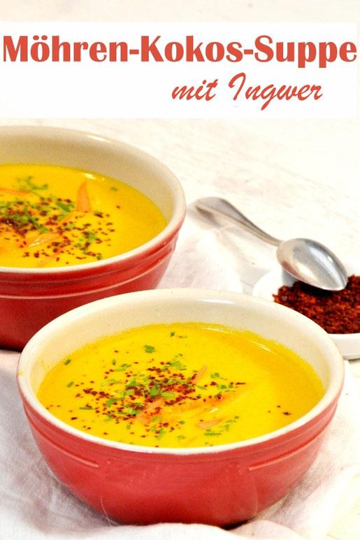 Möhren Kokos Suppe mit Ingwer und Chili, leicht, exotisch, scharf, lecker! Vegan, vegetarisch, z.B. aus dem Thermomix