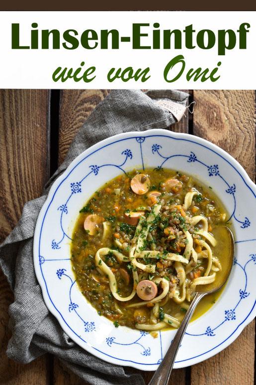 Linsen-Eintopf wie von Omi, mit Spätzle und Wiener Würstchen, vegetarisch, vegan machbar, Thermomix