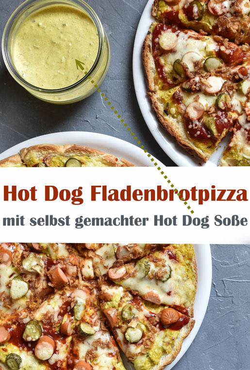 """Fladenbrot Pizza """"Hot Dog Style"""" mit selbst gemachter Hot Dog Soße, vegetarisch, vegan machbar, Soße aus dem Thermomix"""