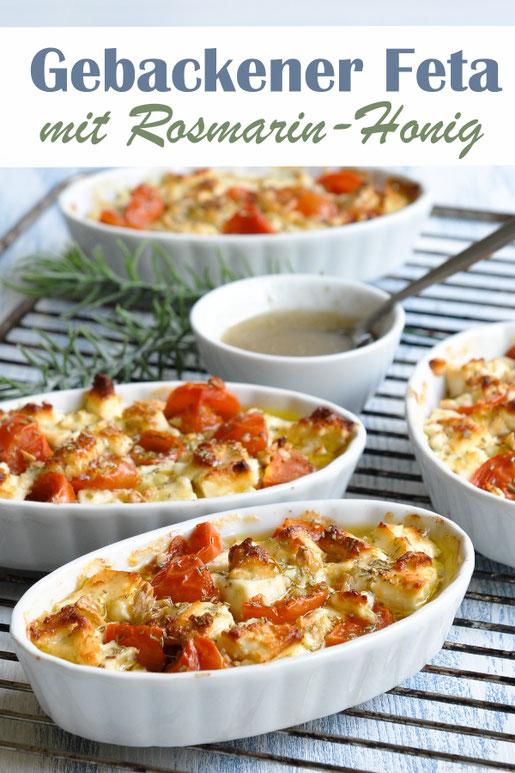 Gebackener Feta Käse mit Tomaten und Rosmarin Honig, vegetarische Vorspeise, Snack, Tapas, sehr lecker, sehr einfach, Thermomix