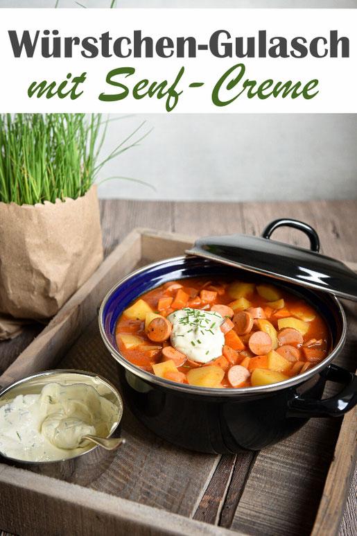 Würstchen Gulasch mit Kartoffeln, Möhren und Senf Creme mit Schnittlauch, super Kombination, all in one, Mittagessen, lecker, Hauptgericht, Thermomix, vegetarisch, vegan machbar