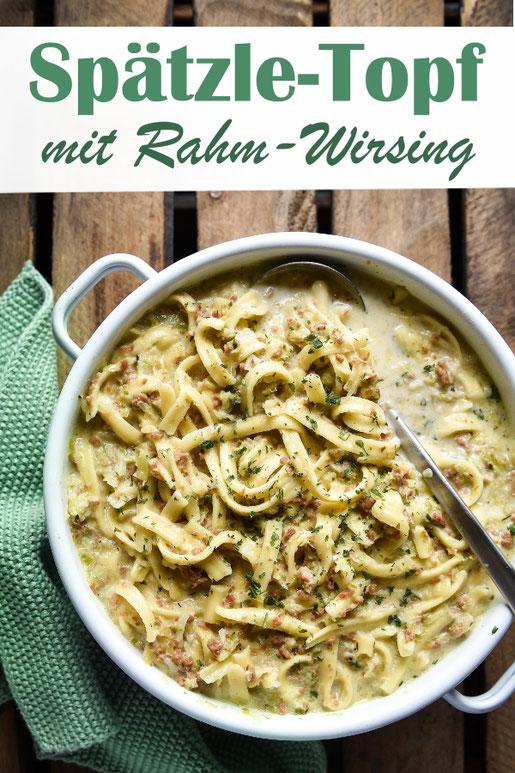 Spätzle Topf mit Rahm-Wirsing und Hackfleisch, vegetarisch, vegan möglich, One Pot, All in One, Thermomix
