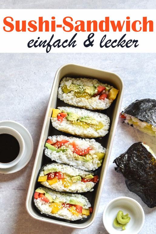 Sushi Sandwich, einfach und lecker, mit Avocado und Paprika, vegan, vegetarisch, Sushi-Reis mit dem Thermomix gekocht
