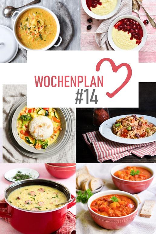Was soll es die Woche bloß zu essen geben? Ich habe dir hier eine ganze Woche an leckeren Rezepten zusammengestellt - du kannst sie alle vegan oder vegetarisch kochen - der mix dich glücklich Wochenplan für den Thermomix - Nummer 14