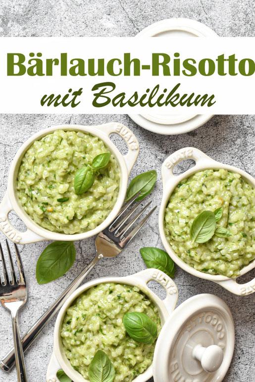Bärlauch Risotto mit Basilikum, einfaches Rezept, mit Bärlauchpaste, Thermomix, vegetarisch, vegan machbar, Frühling