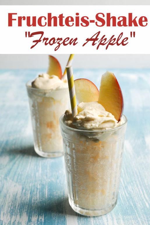 Fruchteis Shake aus Apfelsaft, Mangonektar mit Sahne, vegan möglich, leckeres und erfrischendes Getränk im Sommer, Thermomix