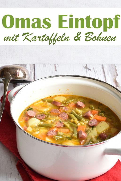Omas Eintopf, Klassiker, aber in vegetarisch bzw. vegan möglich, mit Bohnen, Kartoffeln, Möhren... aus dem Thermomix