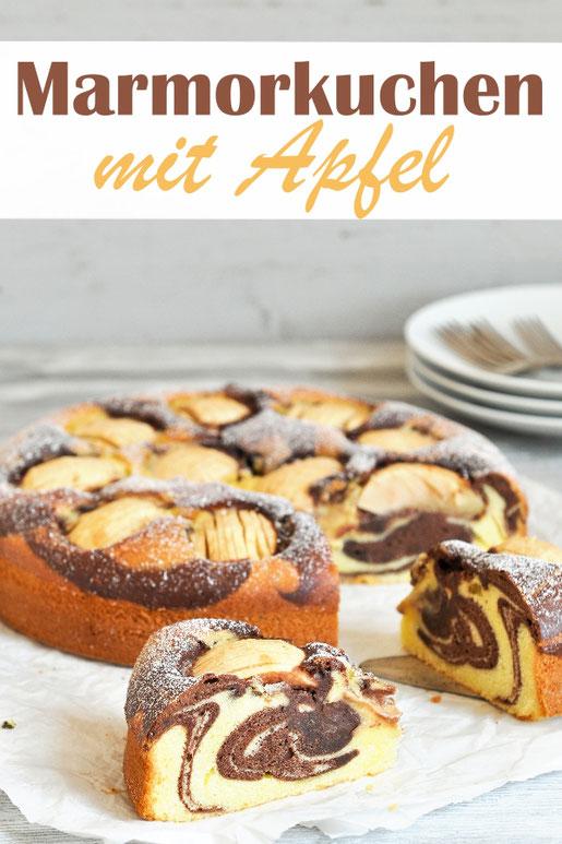 Apfel Marmorkuchen, klassischer Marmorkuchen in einer Springform gebacken mit Äpfeln, fruchtig, lecker, einfach zu machen, Rührteig