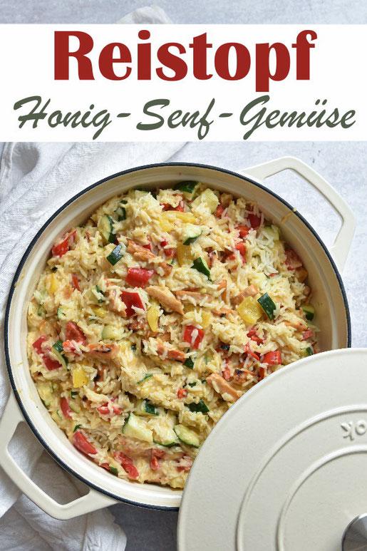 Reistopf mit Honig-Senf-Soße und Gemüse, optional mit Veggie-Fleischersatz oder echtem Fleisch, vegetarisch, vegan möglich, Thermomix, Reisgericht, Mittagessen, Familienküche