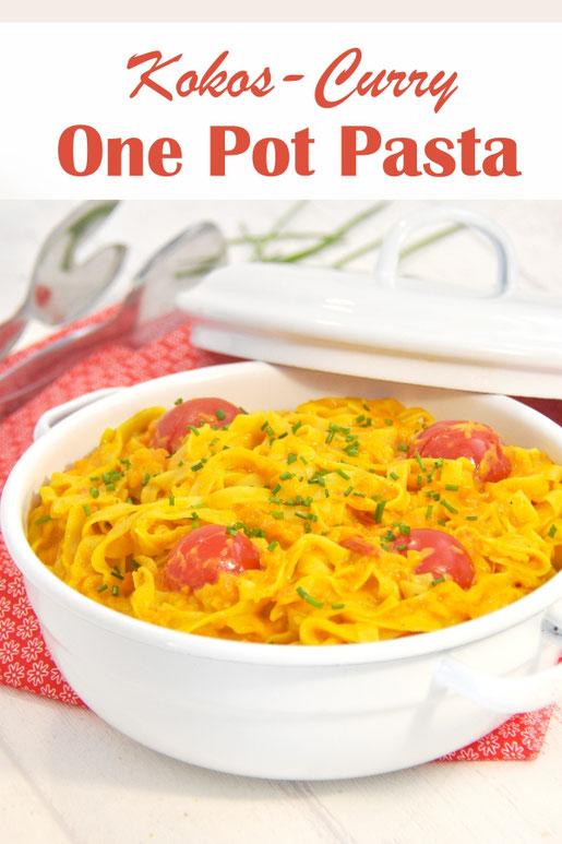 One Pot Pasta mit Kokos und Curry - super Kombination, schmeckt fantastisch, aus dem Thermomix, vegan, vegetarisch
