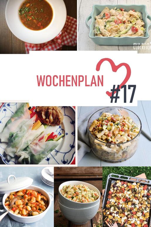 Was soll es die Woche bloß zu essen geben? Ich habe dir hier eine ganze Woche an leckeren Rezepten zusammengestellt - du kannst sie alle vegan oder vegetarisch kochen - der mix dich glücklich Wochenplan für den Thermomix - Nummer 17