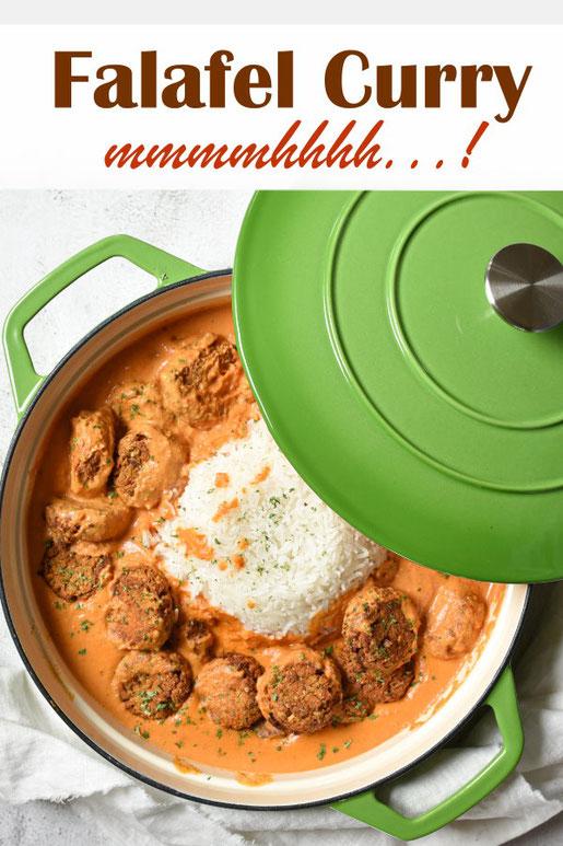 Falafel mal anders - hier als Curry in einer würzigen Tomatensoße dazu Reis, Mittagessen, Familienküche, vegetarisch, vegan, Thermomix