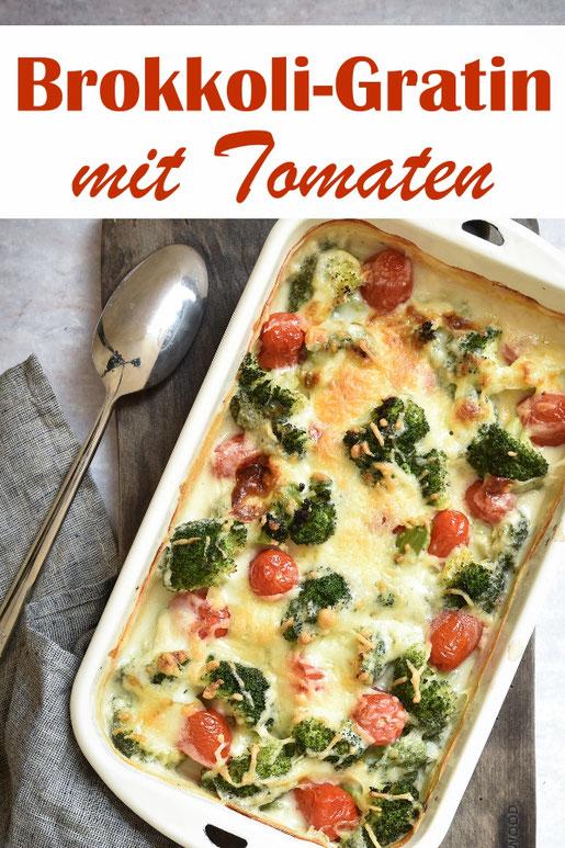 Brokkoli Gratin z.B. mit Tomaten, ohne Fixpulver zubereitet, vegetarisch, vegan möglich, Thermomix Rezept