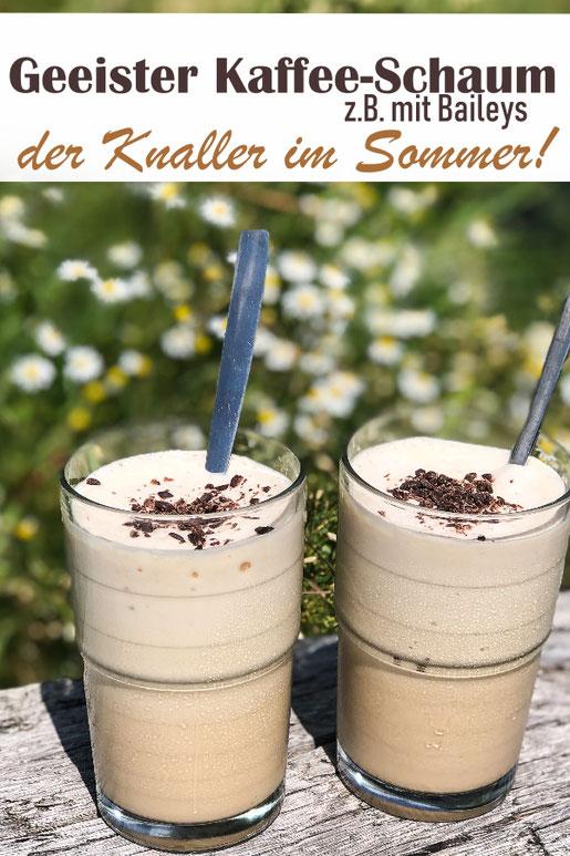 Geeister Kaffee-Schaum, der Knaller im Sommer bei Hitze, besser als Eiskaffee, neuster Trend vegan möglich, Thermomix, schmeckt auch mit Baileys