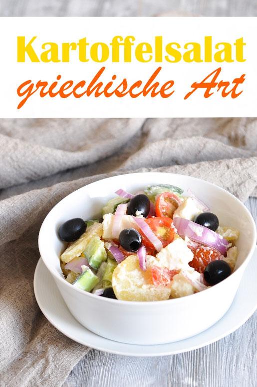 Kartoffelsalat mal anders, griechische Art, mit Gurken, Tomaten, Paprika, Feta, Oliven, Zwiebeln mit Joghurtdressing