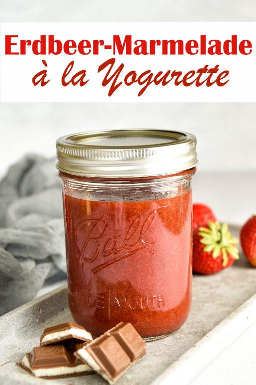 Erdbeermarmelade mit Joghurtschokolade à la Yogurette, Geschenke aus der Küche, Aufstrich süß, z.B. mit dem Thermomix