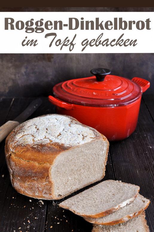 Roggen Dinkel Brot, auch für Anfänger geeignet, im Topf gebacken, simpel und einfach, leckeres, aromatisches Brot, Teig aus dem Thermomix