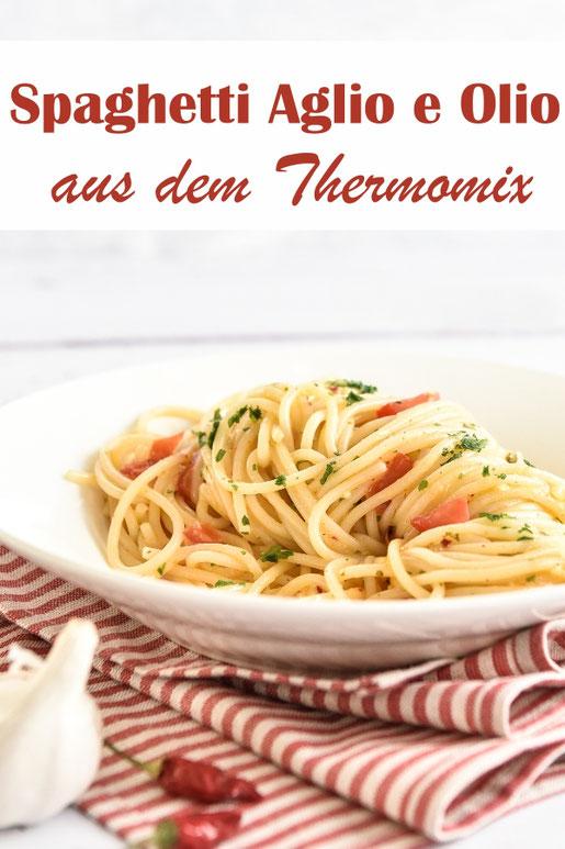Spaghetti aglio e olio mit Chili, aus dem Thermomix, vegetarisch, vegan