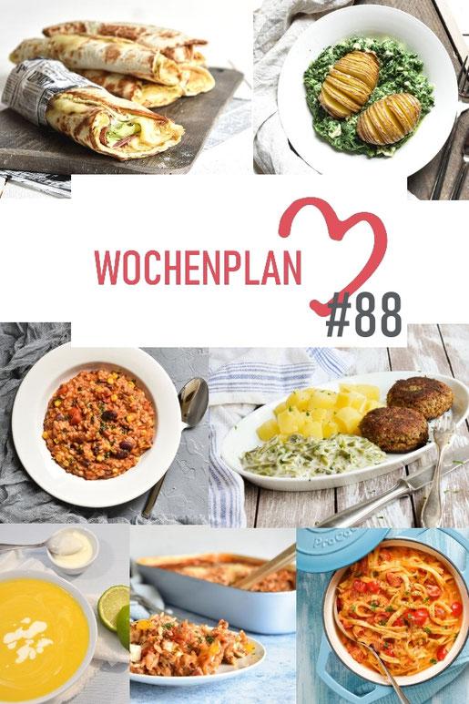Was soll es die Woche bloß zu essen geben? Ich habe dir hier eine ganze Woche an leckeren Rezepten zusammengestellt - du kannst sie alle vegan oder vegetarisch kochen - der mix dich glücklich Wochenplan für den Thermomix - Nummer 88