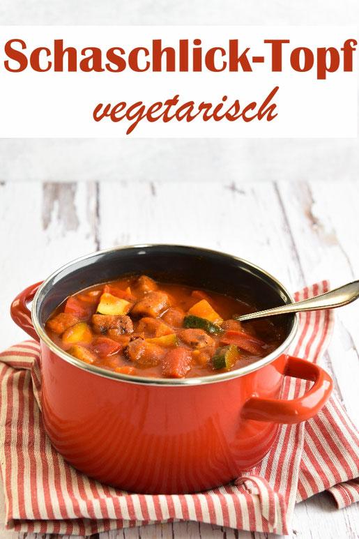 Schaschlick Topf vegetarisch, Klassiker mit Gemüse, vegan, Party-Topf, z.B. aus dem Thermomix