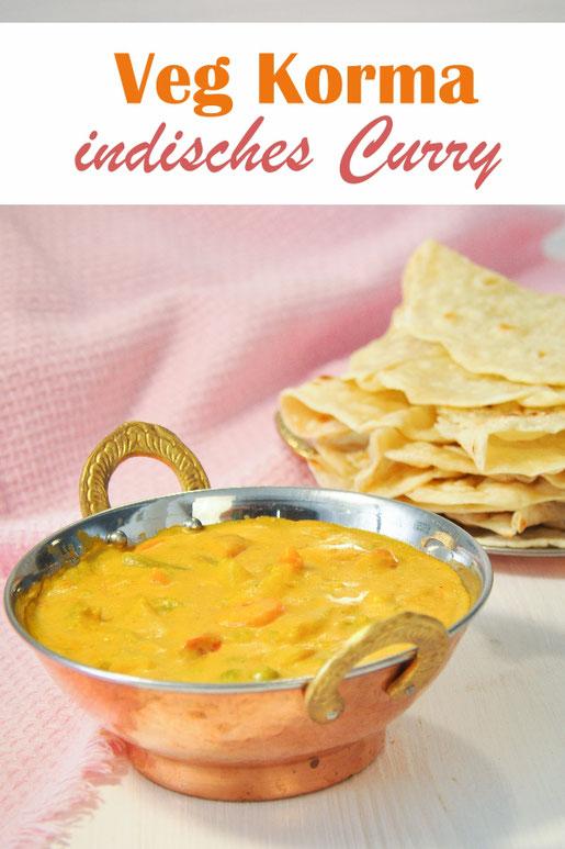 Indisches mildes Gemüsecurry, so genanntes Veg Korma, mit Cashews, Kokosmilch und Joghurt sowie Gemüse, dazu Chapati, vegan, vegetarisch, Thermomix