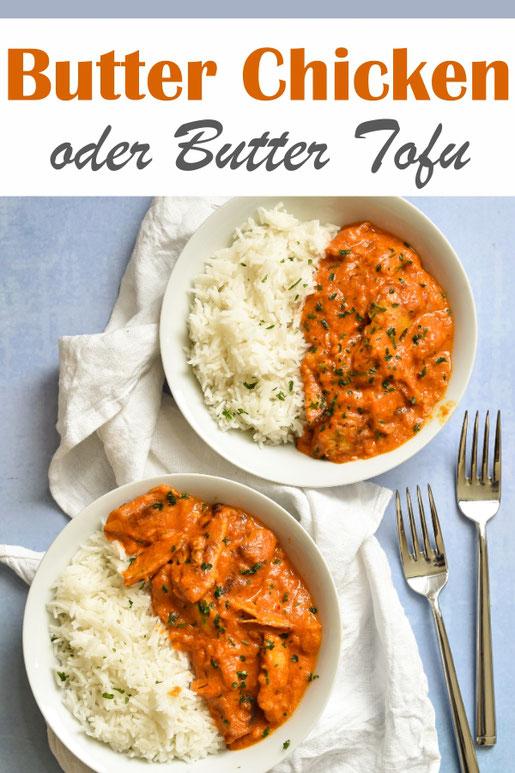 Butter Chicken oder Butter Tofu, vegetarisch oder vegan möglich, indisches Mittagessen, Curry auf Tomaten-Sahne-Basis, mit Reis, z.B. aus dem Thermomix