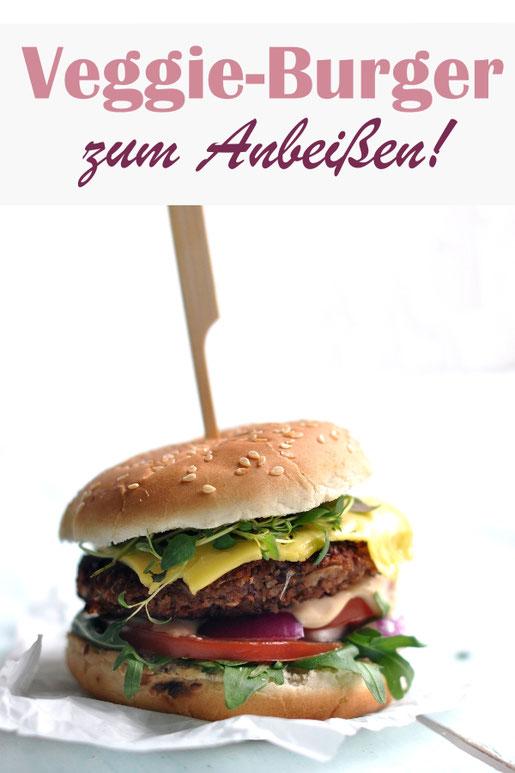 Fantastischer Veggie-Burger mit einem Patty aus Kidneybohnen und Haferflocken, lecker würzig, man vermisst kein Fleisch, vegan möglich