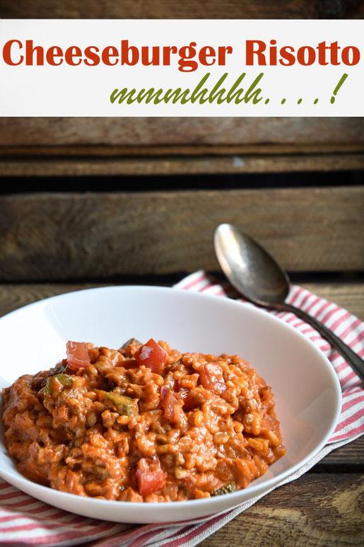 Cheeseburger Risotto, Mittagessen, Klassiker neu interpretiert, Risotto für Kinder, Familienessen, vegetarisch, vegan möglich, aus dem Thermomix
