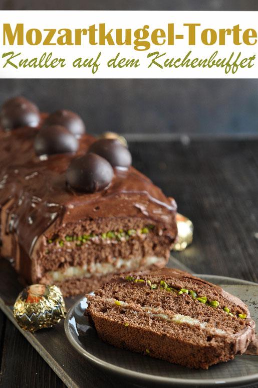 Der Knaller auf dem Kuchenbuffet ist diese Mozartkugel Torte, mächtig aber sehr lecker
