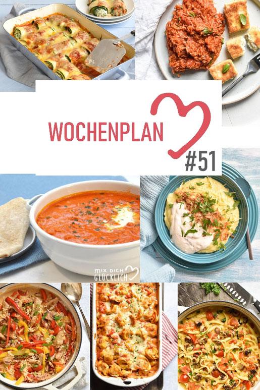 Was soll es die Woche bloß zu essen geben? Ich habe dir hier eine ganze Woche an leckeren Rezepten zusammengestellt - du kannst sie alle vegan oder vegetarisch kochen - der mix dich glücklich Wochenplan für den Thermomix - Nummer 51