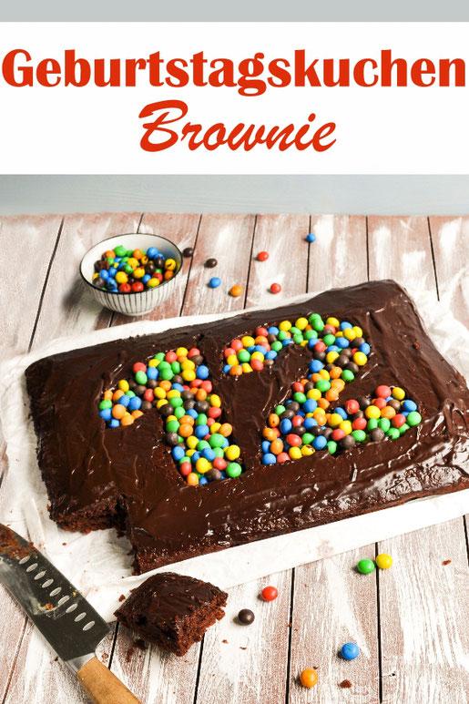 Brownie Geburtstagskuchen mit gefüllter Zahl, vegan, glutenfrei machbar, z.B. aus dem Thermomix