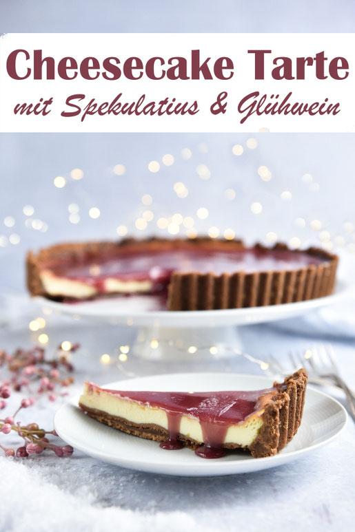 Xmas Cheesecake Tarte mit Spekulatius und Glühwein als Kuchen zur Vorweihnachtszeit oder als Dessert zu Weihnachen, vegan möglich